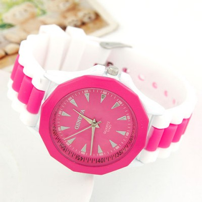 Asian Red Candy Color Geometric Shape Casual Design Alloy Ladies Watches