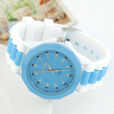 Sparking Blue Candy Color Geometric Shape Casual Design Alloy Ladies Watches