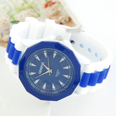 Mysterious Ocean Blue Candy Color Geometric Shape Casual Design Alloy Ladies Watches