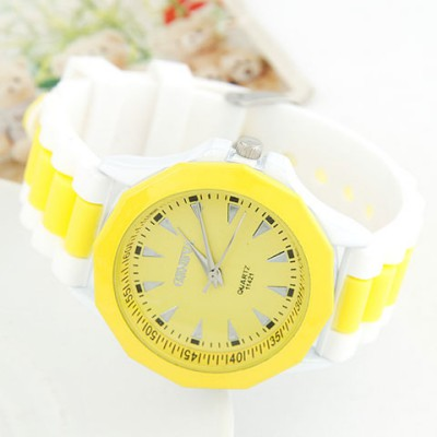 Kinetic Yellow Candy Color Geometric Shape Casual Design Alloy Ladies Watches