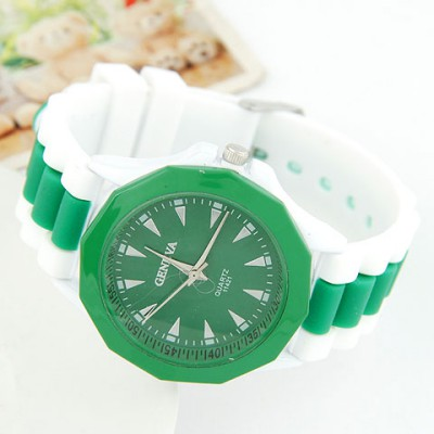 Athena Dark Green Candy Color Geometric Shape Casual Design Alloy Ladies Watches