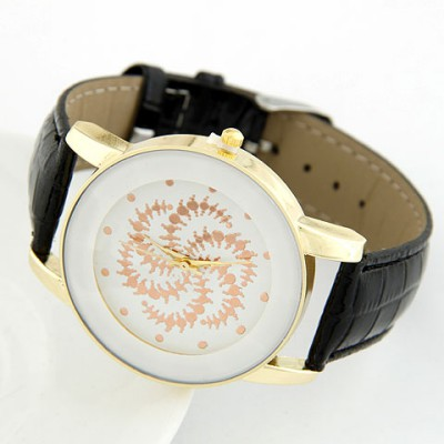 Cheerleadi Black Round Shape Simple Design Alloy Ladies Watches