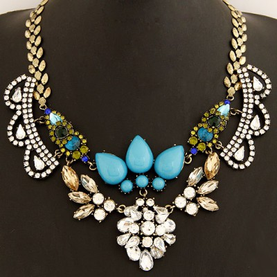 Turquoise Blue Crown Shape Gemstone Decorated Alloy Bib Necklaces