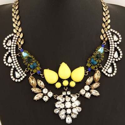Stronglite Yellow Crown Shape Gemstone Decorated Alloy Bib Necklaces