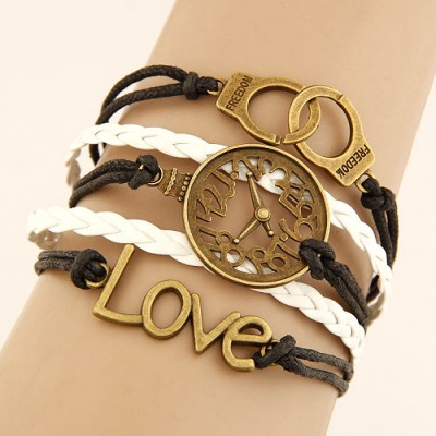 Musical White Vintage Handcuffs&Watch Decorated Multilayer Design