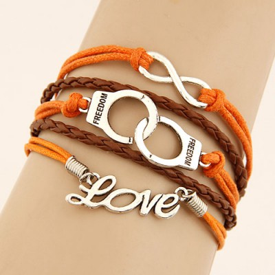 Renaissanc Orange Word Love&Handcuffs Decorated Multilayer Design
