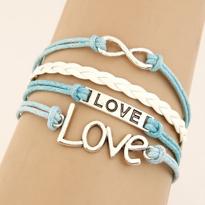 Cocktail Blue Word Love&Digital 8 Decorated Multilayer Design Alloy Korean Fashion Bracelet