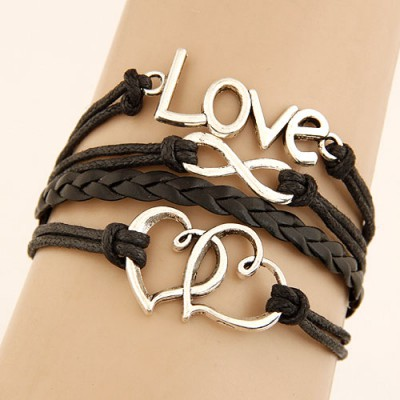 Stylish Brown Double Heart Shape&Word Love Decorated