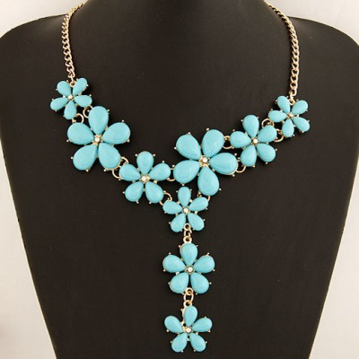 Pagan Blue Five Petal Flower Gemstone Long Drop Design Alloy Bib Necklaces