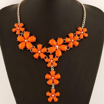 Classical Orange Five Petal Flower Gemstone Long Drop Design Alloy Bib Necklaces