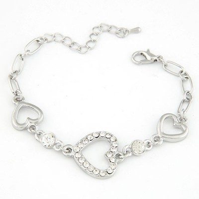 Liquid Silver Color Three Hollow Heart Shape Decorated