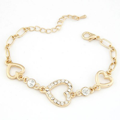 Graduation Gold Color Three Hollow Heart Shape Decorated Alloy Korean Fashion Bracelet