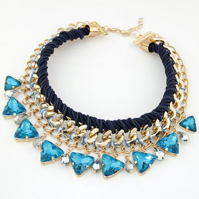 Lariat Sapphire Exquisite Triangle Gemstone Decorated Alloy Bib Necklaces
