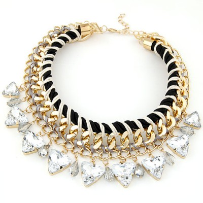 Montgomery White Exquisite Triangle Gemstone Decorated Alloy Bib Necklaces