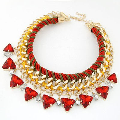 Newborn Red Exquisite Triangle Gemstone Decorated Alloy Bib Necklaces