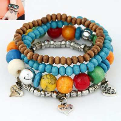 Softshell Multicolor Metal Heart Decorated Multilayer Ethnic Beads Alloy Korean Fashion Bracelet