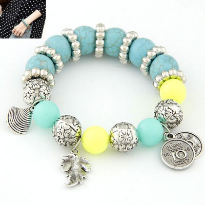 Elephant Blue Creative Metal Decorated Beads Woven Alloy Korean Fashion Bracelet
