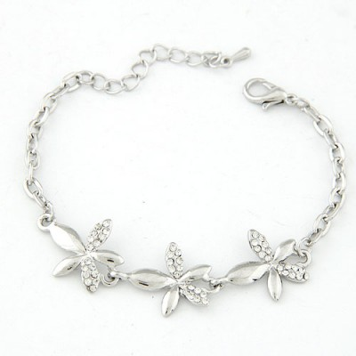 Aamazing Silver Color Inlaid Drill Flower Decorated Alloy Korean Fashion Bracelet
