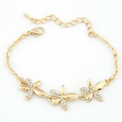 Pendant Gold Color Inlaid Drill Flower Decorated Alloy Korean Fashion Bracelet