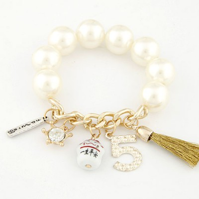 Royal White Multielement Decorated Elastic Design Alloy Korean Fashion Bracelet