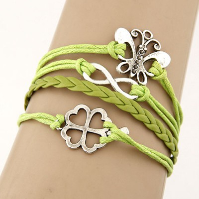Funny Green Metal Butterfly&Clover Decorated Multilayer Design Alloy Korean Fashion Bracelet