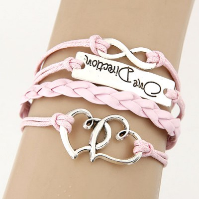 Beauteous Pink Double Heart&Digital 8 Decorated Multilayer Design