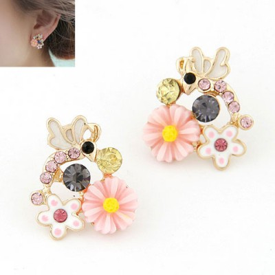 Lined Pink Sweet Flower Gemstone Decorated Alloy Stud Earrings