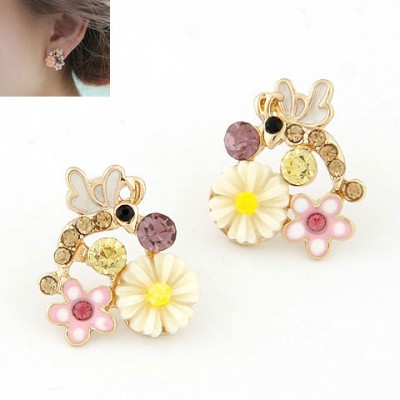 Flirty Beige Sweet Flower Gemstone Decorated Alloy Stud Earrings