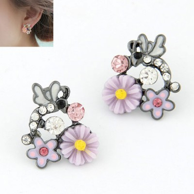 Gorgeous Purple Sweet Flower Gemstone Decorated Alloy Stud Earrings