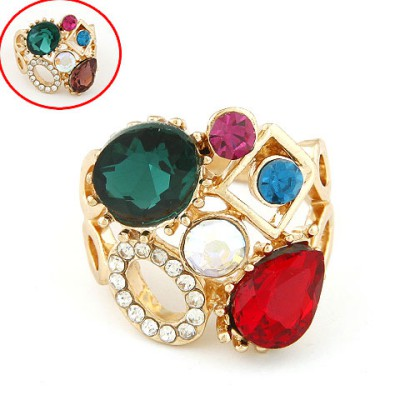 Western Color Will Be Random Sparkly Gemstone Decorated Hollow Out Design Alloy Korean Rings