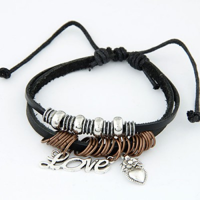 Fancy Black Metal Peach Heart&Word Love Decorated Alloy Korean Fashion Bracelet