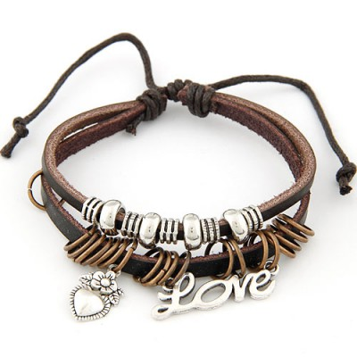 Quicksilve Coffee Metal Peach Heart&Word Love Decorated Alloy Korean Fashion Bracelet