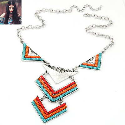 Budget Sky Blue triangle design alloy Bib Necklaces