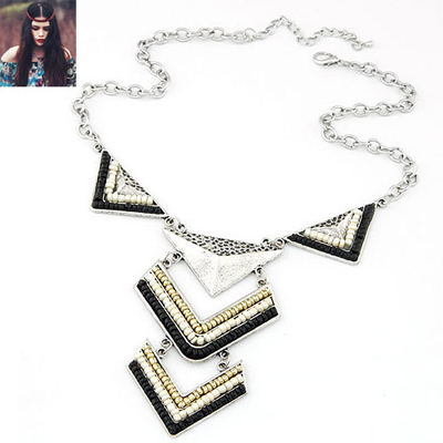 Graduated Black triangle design alloy Bib Necklaces