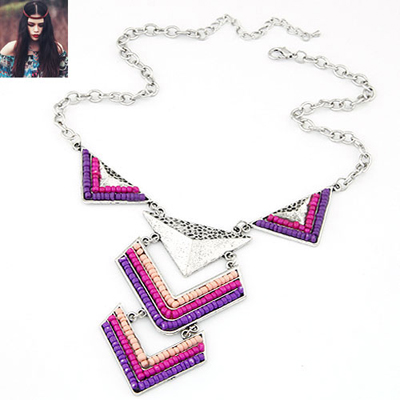 Exquisite Purple triangle design alloy Bib Necklaces