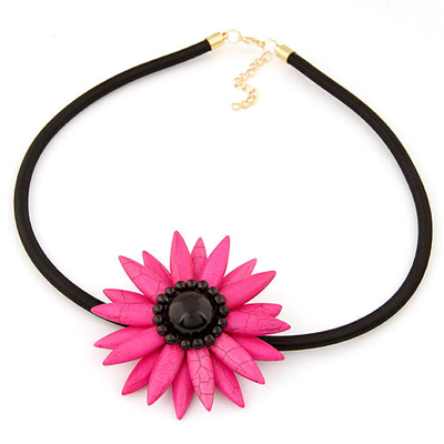 Special plum red sunflower shape design alloy Bib Necklaces