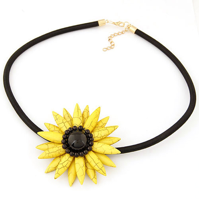 Venetian yellow sunflower shape design alloy Chains