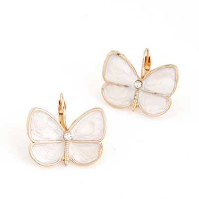 Sample white butterfly shape decorated design alloy Stud Earrings