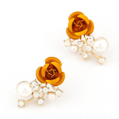 Birthing champagne rose flower decorated design alloy Stud Earrings