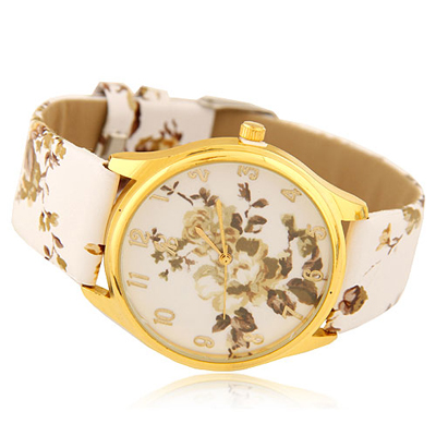 Nautical white flower pattern decorated design alloy Ladies Watches