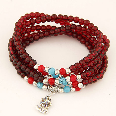 Wedding claret-red multilayer simple design beads Korean Fashion Bracelet
