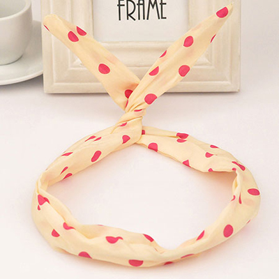 Smart beige rabbit ears design fabric Hair band hair hoop