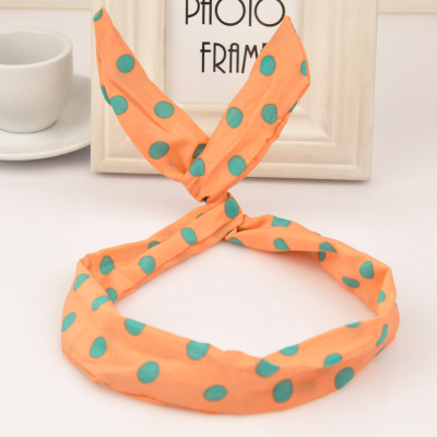 African apricot rabbit ears design fabric Hair band hair hoop