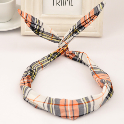 Fall multicolor rabbit ears design fabric Hair band hair hoop