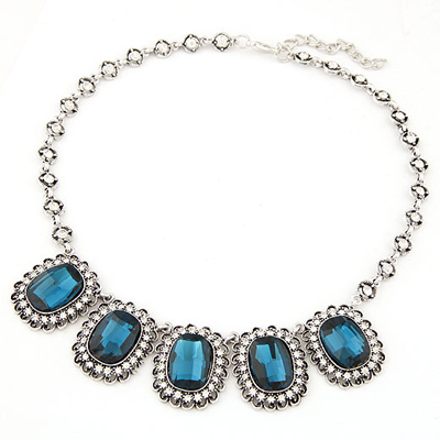Monogramme dark blue gemstone decorated design alloy Bib Necklaces