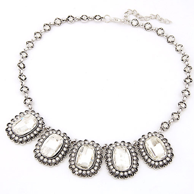 Plus Size white gemstone decorated design alloy Bib Necklaces