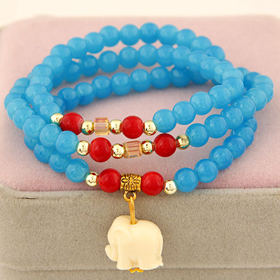 Fused sky blue elephant pendant design beads Korean Fashion Bracelet
