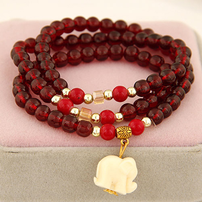 Corporate claret-red elephant pendant design beads Korean Fashion Bracelet