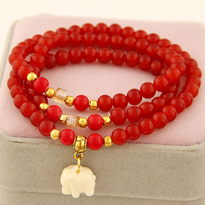 Gorgeous red elephant pendant design beads Korean Fashion Bracelet