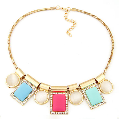 Toddler multicolor geometric squares shape design alloy Bib Necklaces